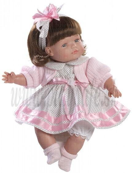 Berjuan Bábika s látkovým telíčkom Claudia brunetka, 38cm