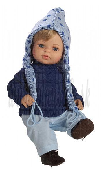 Berjuan Bábika s látkovým telíčkom Laura blond v modrom, 40cm
