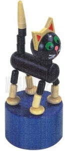 DETOA Drevená mačkacia hračka Čierna mačka