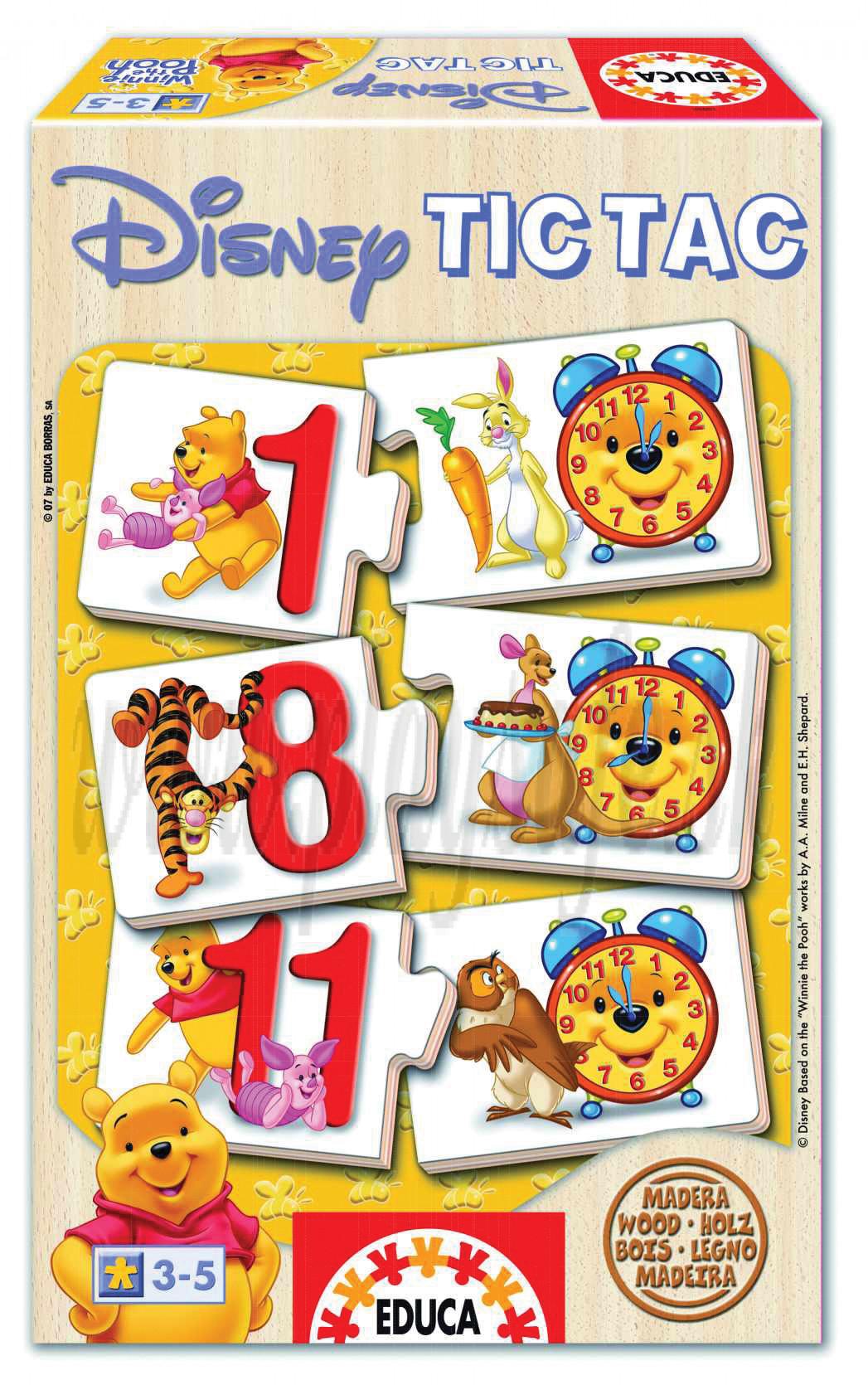 EDUCA Drevené puzzle Tic Tac Winnie The Pooh