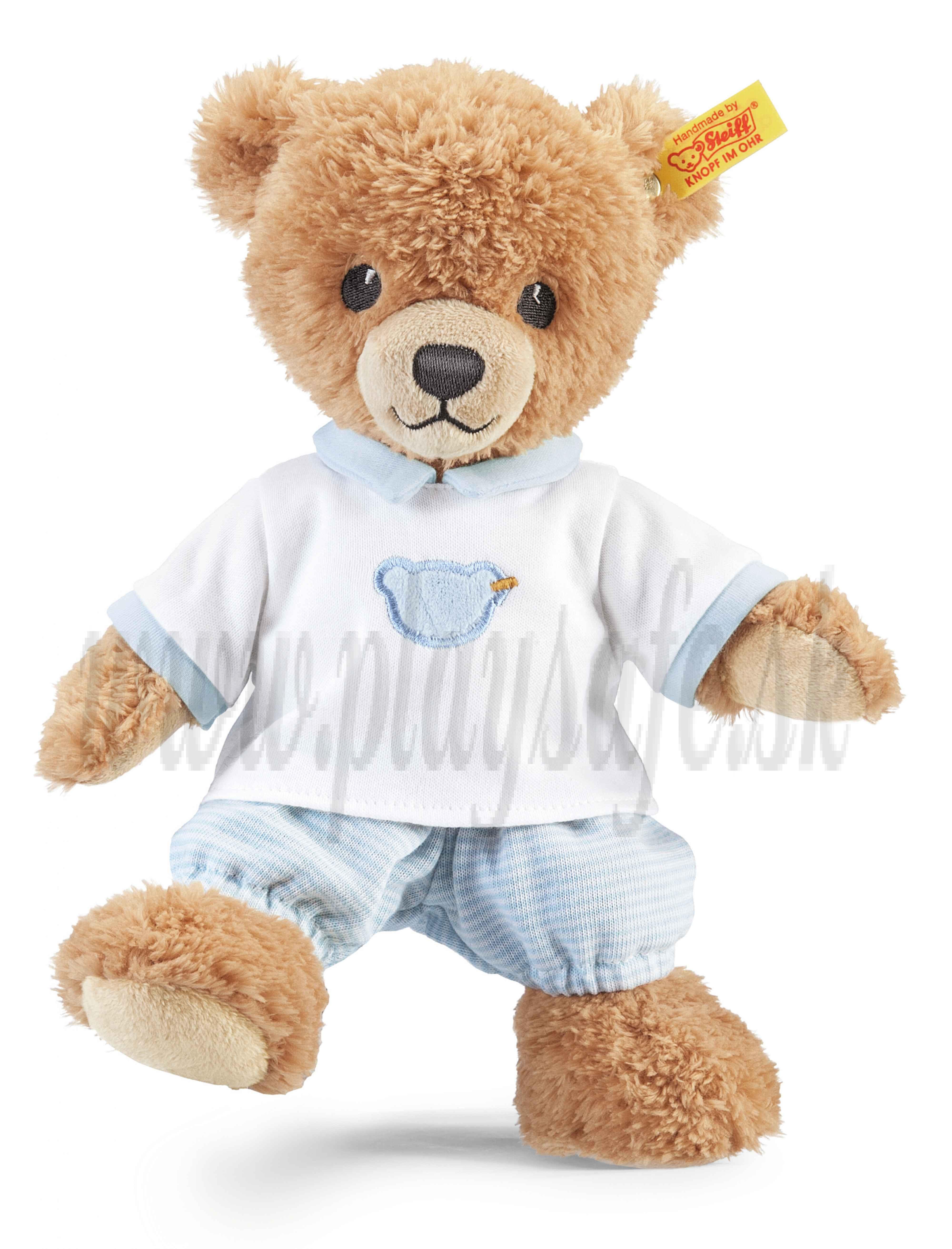 Steiff Plyšový medvedík na dobrú noc, 25cm modré pyžamko
