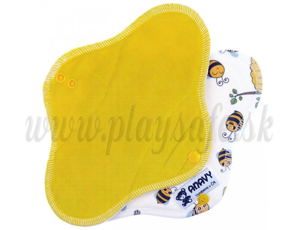 Anavy Denná vložka s PUL bavlnený velúr citrón / včielky a úľ
