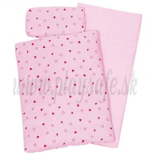 Goki Vankúšik + prikrývka + matrac do postieľky ružové srdiečka