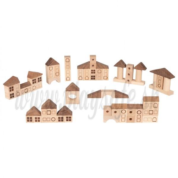 Goki Drevené stavebné kocky prírodné mestečko, 70ks