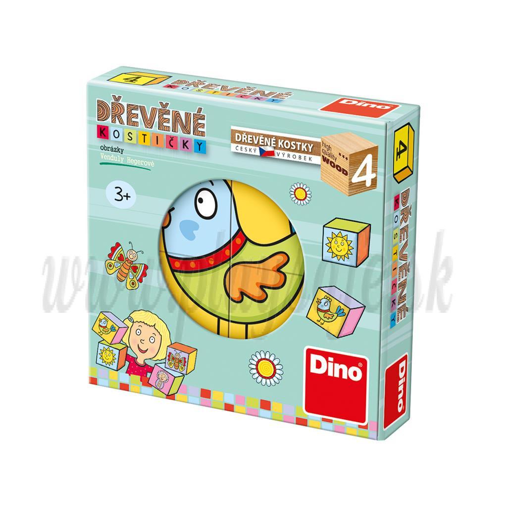 Dino Drevené obrázkové kocky baby, 4 kocky