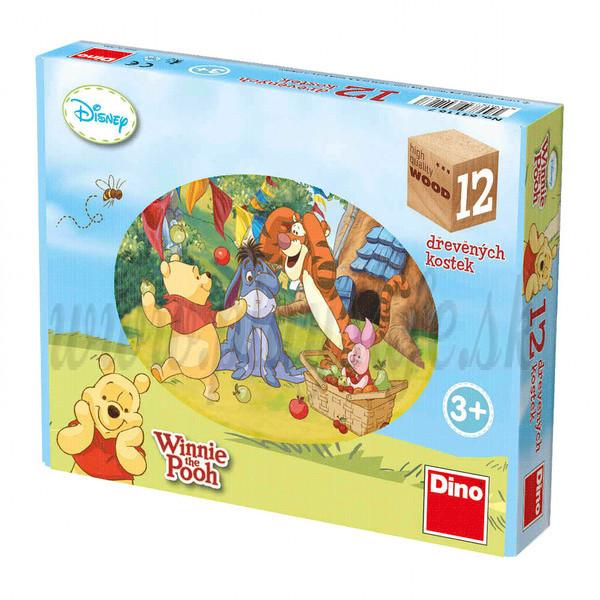 Dino Drevené obrázkové kocky Disney Medvedík Pu, 12 kociek