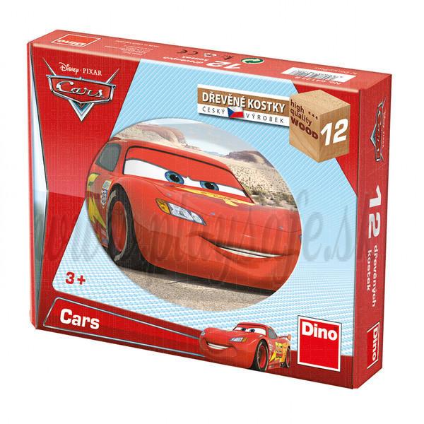 Dino Drevené obrázkové kocky Disney Cars, 12 kociek