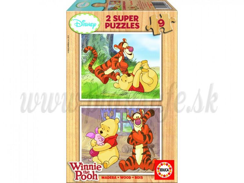 EDUCA 2x9 Drevené puzzle Winnie The Pooh