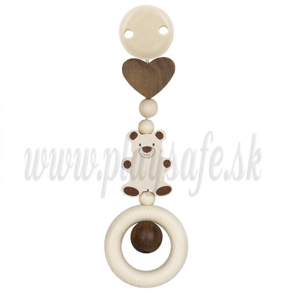 Heimess Drevená hračka s klipom Medvedík a srdce
