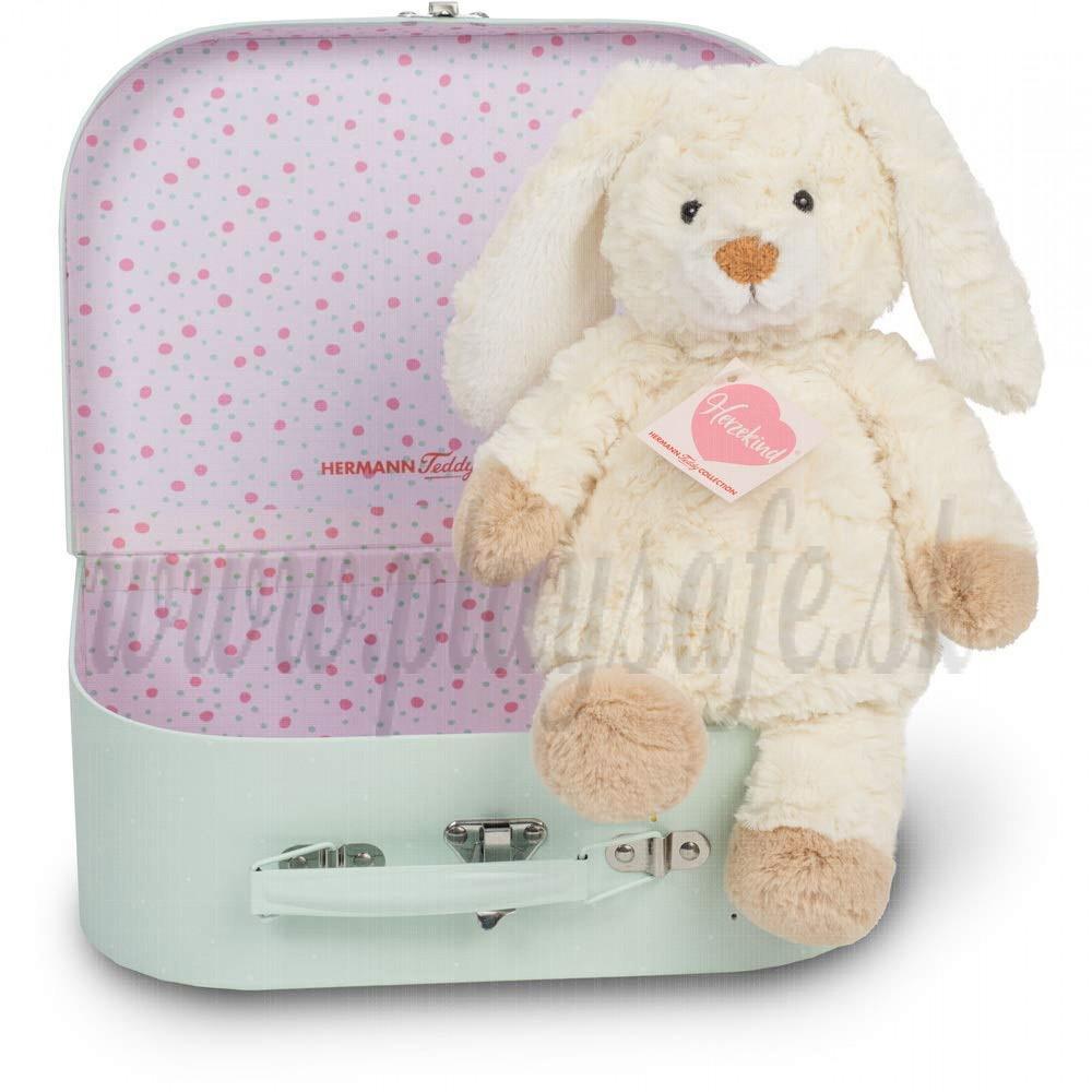 Teddy Hermann Plyšový zajko Mrkvička v kufríku, 27cm