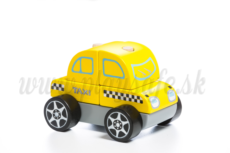 Cubika Drevené skladacie autíčko taxík