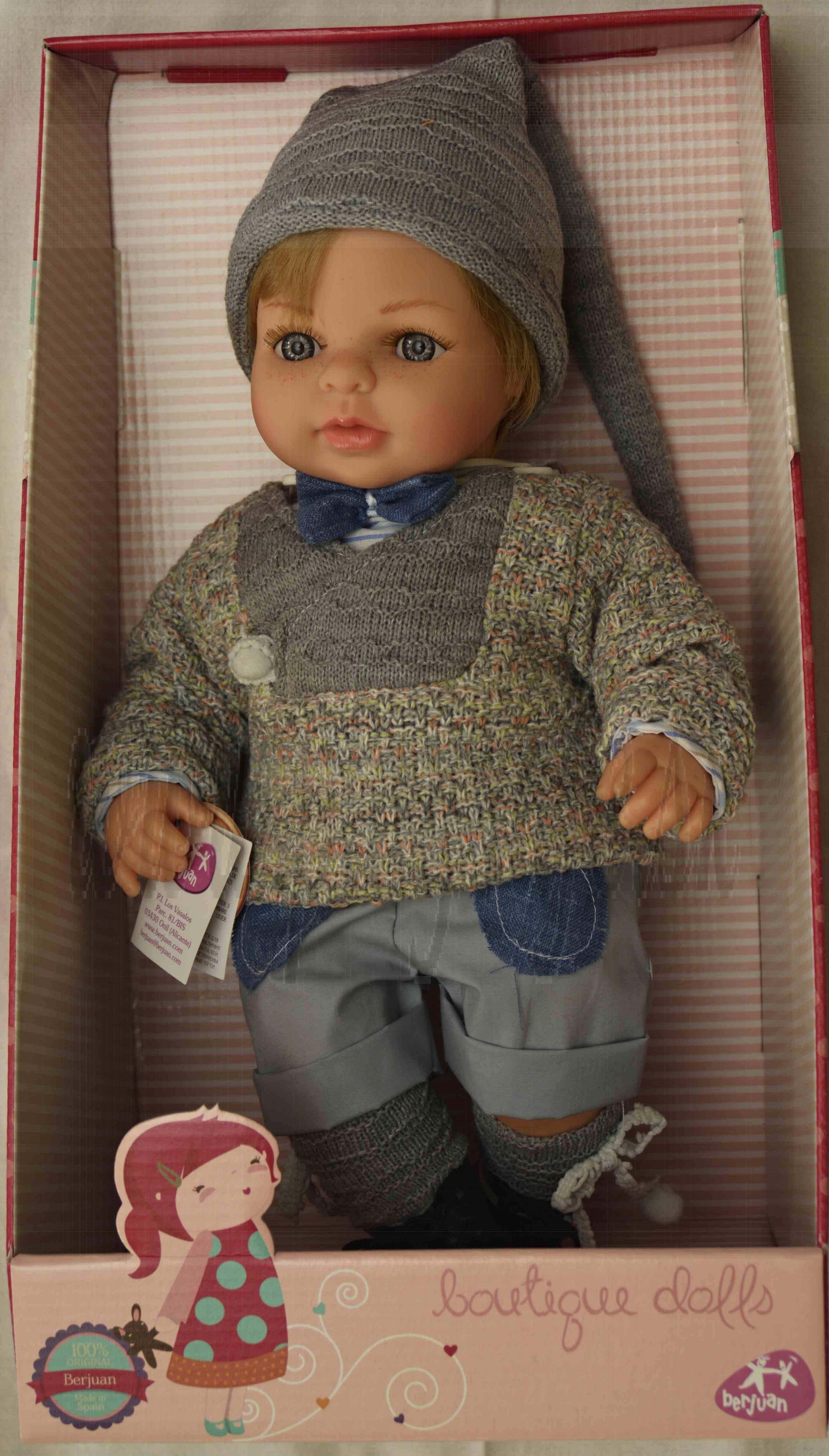 Berjuan Bábika s látkovým telíčkom Laura blond v modrošedom, 40cm
