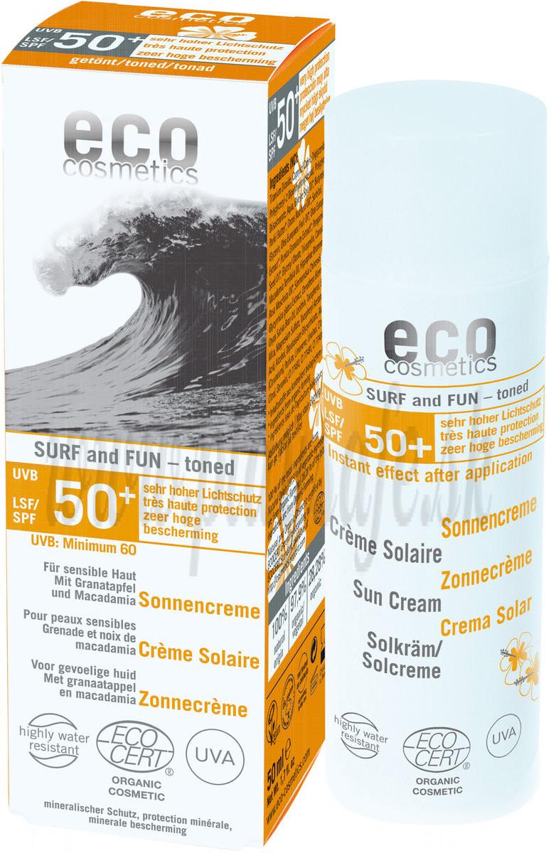 Eco Cosmetics Surf & Fun Extra Vodoodolný ochranný prípravok na opaľovanie SPF 50 +, 50ml