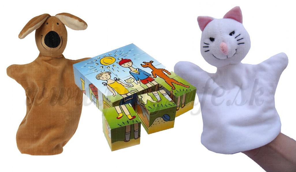Sada Čapek Psíček a Mačička obrázkové kocky + maňušky, 3ks