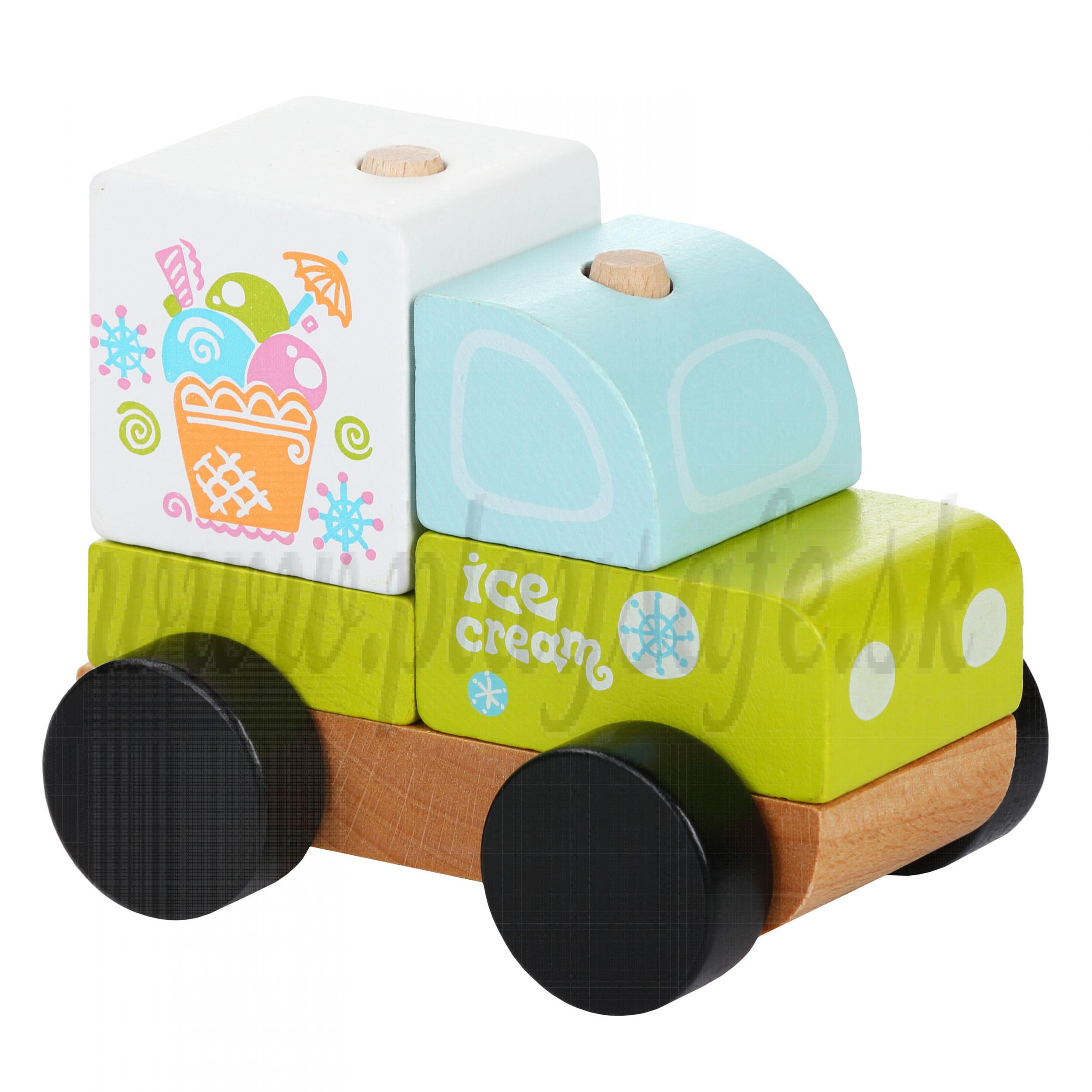Cubika Drevené skladacie autíčko zmrzlina