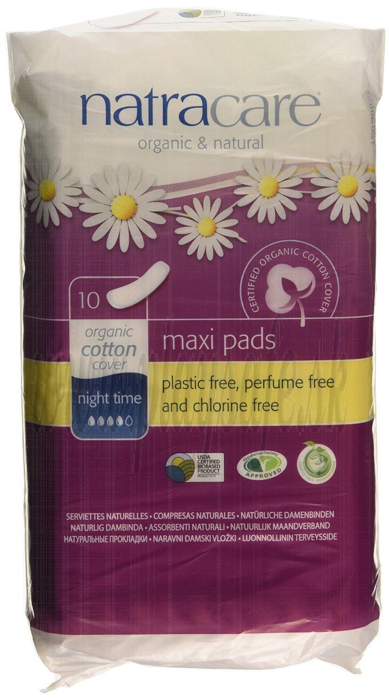 Natracare Bio bavlnené menštruačné vložky Maxi Night Time, 10ks