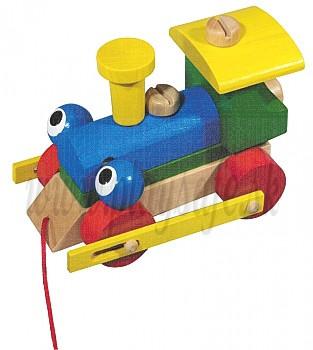 DETOA Drevená ťahacia hračka Žmurkací montážny rušeň