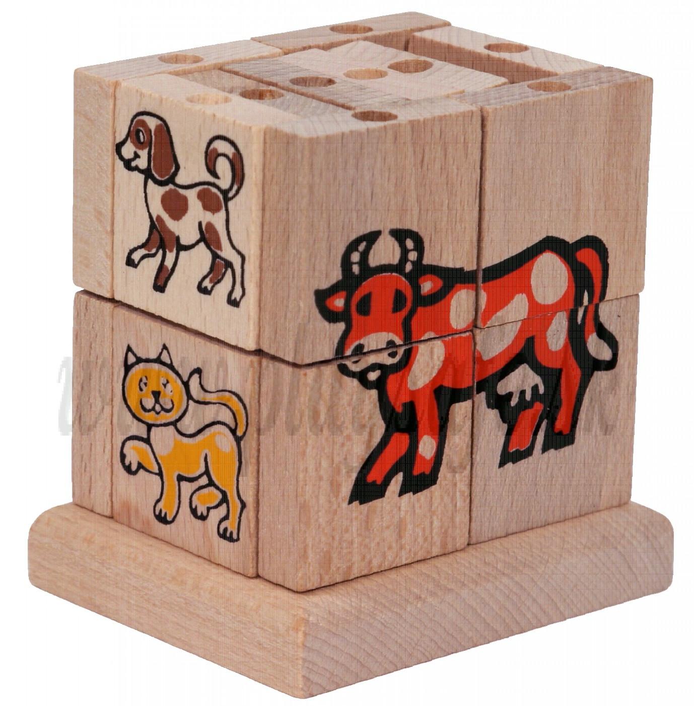 MIK Drevená skladacia kocka domáce zvieratká, 20ks