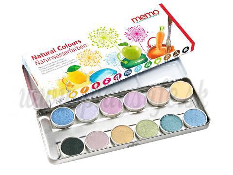 memo Prírodné vodové farby, 12 farieb