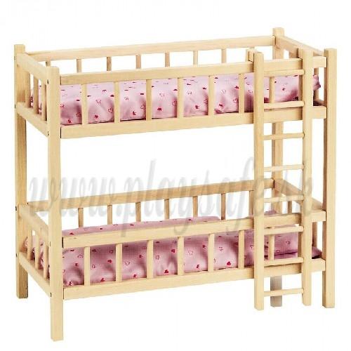 Goki Drevená postieľka pre bábiku poschodová, 59cm