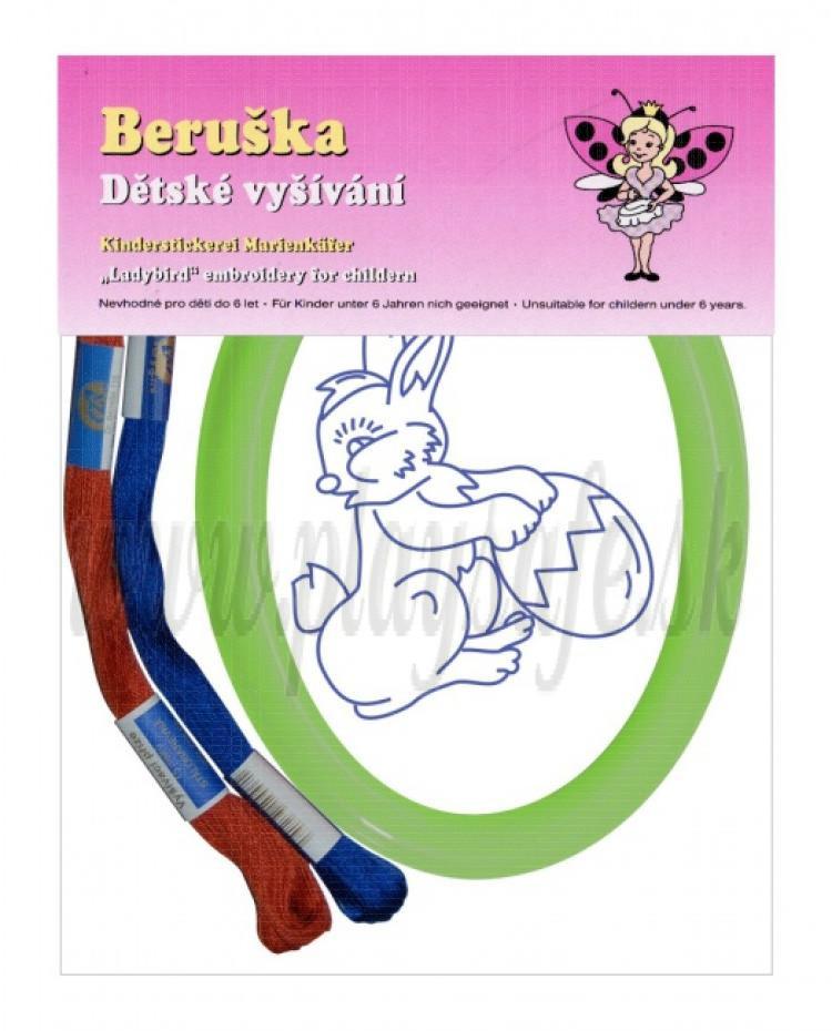 Beruška Detské vyšívanie Ovál Veľkonočný zajačik