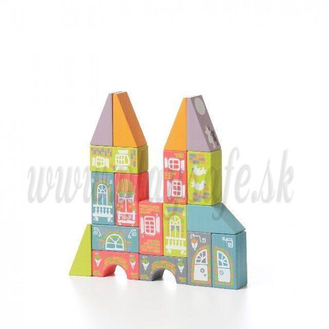 Cubika Drevená stavebnica Kúzelné mestečko, 18ks