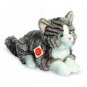Teddy Hermann Plyšová mačka sivá ležiaca, 30cm