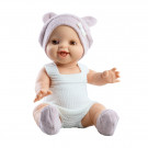 Paola Reina Realistické bábätko Gordis Raquel, 34cm vo fialovej čiapočke
