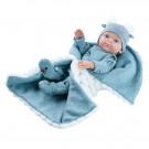 Paola Reina Realistické bábätko Mini Pikolin Manta Gris, 32cm chlapček na deke