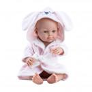 Paola Reina Realistické bábätko Mini Pikolin Albornoz Rosa Dog, 32cm dievčatko v ružovej osuške psík