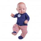 Paola Reina Realistické bábätko Bebita, 45cm červené pásiky