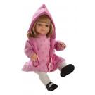 Berjuan Bábika s látkovým telíčkom Laura blond v ružovom, 40cm