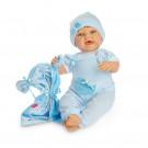 Berjuan Bábika s látkovým telíčkom Baby Sweet brunet, 50cm v modrom