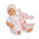Berjuan Bábika s látkovým telíčkom Baby Sweet blond, 50cm v ružovom