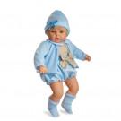 Berjuan Bábika s látkovým telíčkom Mi nene blond, 60cm v modrom