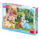 Dino Puzzle Disney Princezné, 3x55