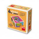 Dino Drevené obrázkové kocky Ovocie, 4 kocky