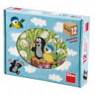 Dino Drevené obrázkové kocky Krtko a vtáčik, 12 kociek