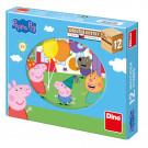 Dino Drevené obrázkové kocky Peppa Pig, 12 kociek
