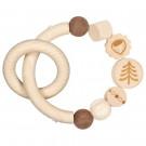 Heimess Drevená elastická hračka do ruky Oriešok pre veveričku prírodný