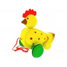 MIVA Vacov Drevená ťahacia hračka sliepočka farebná