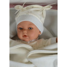 Antonio Juan Realistické bábätko Peke, 29cm v čiapočke modré