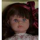 Asivil Látková bábika Pepa, 57cm kvietkované šaty brunetka