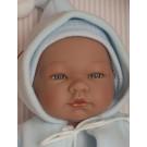 Asivil Realistické bábätko chlapček Pablo, 43cm modrá kapucka