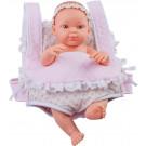 Paola Reina Realistické bábätko Mini Pikolin Mochila Rosa, 32cm dievčatko v klokanke