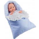 Paola Reina Realistické bábätko Mini Pikolin Saquito Azul, 32cm chlapček vo vaku