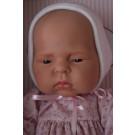 Asivil Realistické bábätko dievčatko Lucía, 42cm biela čiapočka