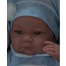 Antonio Juan Realistické bábätko Nico Manta Azul, 40cm na modrej deke