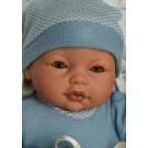 Antonio Juan Zvuková bábika bábätko Bimbo Mickey, 37cm žmurkacia v perinke modrá
