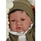 Antonio Juan Realistické bábätko chlapček Recien Nacido Cojín, 42cm s vlasmi